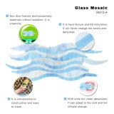Comercio al por mayor azul ver vidrieras lineal para ducha Backsplash baldosas mosaico