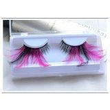 Composição criativa de moda Fase Eyelash Cosplay Pink Feather pestanas falsas