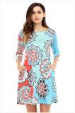 Böhmisches Sonnenblume-Drucken-Frauen-Großhandelskleid China