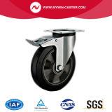 8 Bremsen-Schwenker-des Aluminiumkern-Europa-Zoll Typ-industrielles Fußrollen-Gummi-Rad