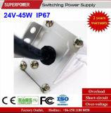 Fonte de alimentação impermeável IP67 do interruptor do diodo emissor de luz da tensão constante 24V 45W