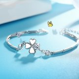 Fashion Accessories Lucky Clover Shining Cubic Zirconia 925 Silver Jewelry (553809798810)