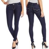 Jeans minces de denim d'ajustement d'ajustement maigre de lavage de pierre de broderie d'High Waist Coton Stretch de femmes de Madame