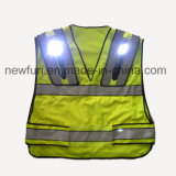 Gilet r3fléchissant jaune de clignotement tricoté par polyester 100% d'En471 DEL
