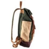 Weinlese eingewachsener Segeltuch-Rucksack mit lederner Ordnung