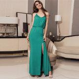 En Stock de la cadena de oro Halter Verde Maxi vestido con T Back