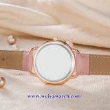 Custom cuero damas relojes de cuarzo Wist aleación, Mujer Watch (WY-17045)