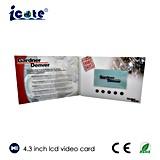 Brochure visuelle d'affaires d'affichage à cristaux liquides de 4.3 pouces avec la fonction de bouton