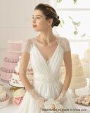 Le chapeau gaine la robe de mariage de pays de plage de V-Collet d'empire de robes nuptiales Lb1829