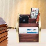 Desktop Small Size Golden Edge Wood Note Holder