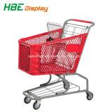 180Lスーパーマーケットのプラスチックショッピングトロリー買物車