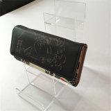 3 capas del tipo estante de la escala de visualización de acrílico transparente del bolso