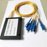 Splitter пластичной коробки PLC 1X4 оптического волокна для применения радиотелеграфа и сети и может, CCTV