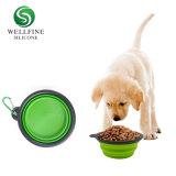 Opvouwbare Kom van de Hond van het Huisdier van het Silicone van de afwasmachine de Veilige Draagbare