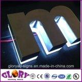 Le signe balayé d'acier inoxydable marque avec des lettres le panneau de signe de DEL poli par miroir
