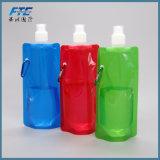 Bouteille d'eau compressible pliable imperméable à l'eau de sport de course de PVC