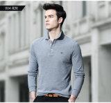 Camisas ocasionais aptas do polo T de Fatsionable boas Quiality do negócio do corpo longo da luva
