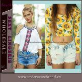 Vestuário de fábrica T-shirt de manga curta de moda Mulheres Tops de colheita