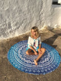 Tirar la toalla de playa Playa Roundie Borla Flores Mandala tapiz