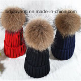 Cappello lavorato a maglia di inverno con pelliccia bella POM POM