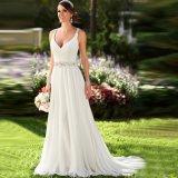Chiffon Chiffon do vestido nupcial da V-Garganta que perla os vestidos de casamento Ld1156 da praia