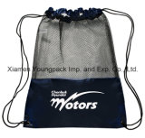 Sacchetti di nylon neri su ordinazione promozionali dello zaino del Drawstring del sacco di ginnastica della maglia