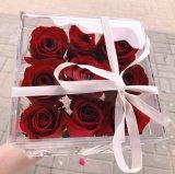 Caixa acrílica da entrega da flor com fontes de empacotamento da fita