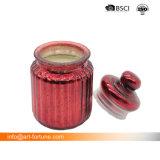 Duftende Glasglas-Kerze mit rotem Spray-Ende und Farbband für Weihnachtsdekor