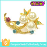 Мода пользовательские металлической Золотой букет цветов Pearl Brooch для свадьбы