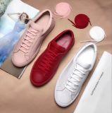 Chaussures blanches courantes occasionnelles respirables de sport en cuir d'espadrilles de mode