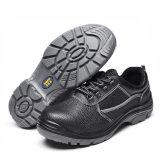 Sapatas de segurança de aço de couro pretas do dedo do pé para o trabalhador