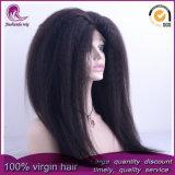 Kinky droites/Yaki vierge péruvien dentelle avant perruque de cheveux