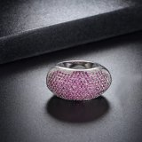 격조 높은 문체 여자 화이트 골드 도금된 분홍색 색깔 결정 반지