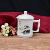 Het Chinese Schilderen van het Landschap in de Vierkante Mok van het Handvat met Dekking