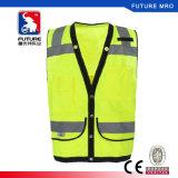 Cer-Breathable Nettotuch-reflektierende Sicherheits-Weste mit Taschen und Schnelltaste