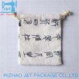 Cordón muselina de algodón blanco personalizada Bolsa para uso distinto