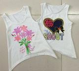 袖なしの子供の衣服が付いているタンクの綿の女の子のTシャツのベスト(SV-016-024)