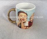 High quality sublimation Mug, sublimation White Mug with gold concerns