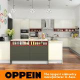 Het moderne Witte Hoge Grijs polijst de Houten Keukenkast van de Lak (OP16-L15)