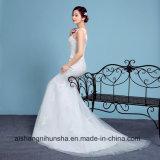Veste Sleeveless elegante do vestido de casamento da sereia com laço