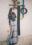 Fábrica de ropa mujer invierno otoño larga falda de la moda Plaid