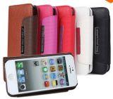 2 em 1 estojo de couro Carteira Lichee destacável para iPhone 5 5s