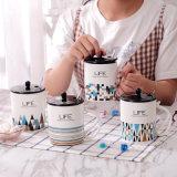 Mug de cerámica ecológica de la copa con una cuchara Mug de cerámica de la geometría de mayorista de café