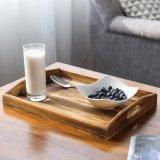 コーヒーサービング表のための焦茶の木製の長方形のネスティング朝食の皿のセット