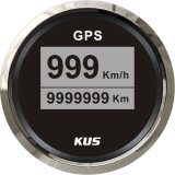 52mm GPS Velometer, Speedo für GPS, Anzeigetafel Digital-GPS Speedometer Black Faceplate 316 Staninless Steel Car Truck (km/h)