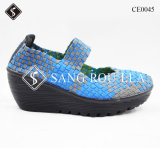 Moda Wedge Heel Mulheres Weave Walking Shoes