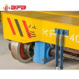 Manuseio de equipamentos da linha de produção via carrinho motorizado sobre carris
