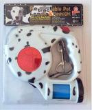 Luz LED correa de perro retráctil con dispensador de bolsas de residuos