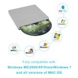 Laptop/PC/MacのUSBの外部DVD CDドライブバーナープレーヤー(灰色)