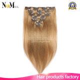 毛の拡張の毛の拡張140g 180g 220g 260g最も軽いブロンドの白いクリップの完全なヘッド贅沢なクリップ